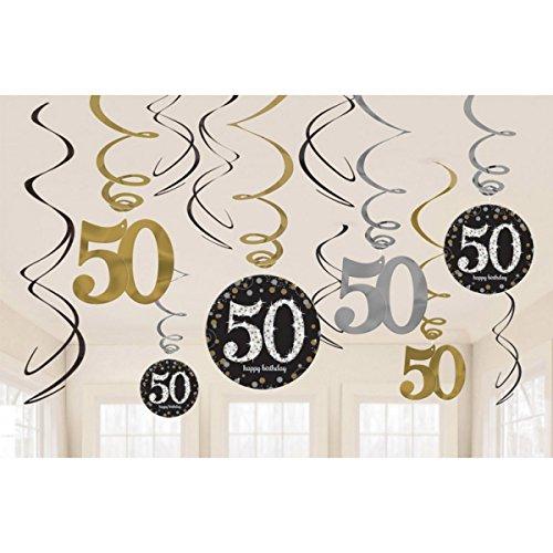 Pfeif auf's Alter 50 im Geschenke Set für Frauen und Männer zum Geburtstag Geldgeschenk Umschlag mit Kräuterlikör oder Piccolo 22 Karat Blattgold Gold pink rosa schwarz (Party Set 50 Gold 1004) - 3