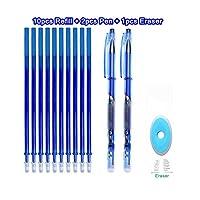 消去可能なペンセット洗えるハンドルブルーブラックカラーインクライティングボールペン学校オフィス文具用品試験スペア-13Pcs blue-M-