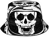 Sombreros de Cubo Transpirables de Parte Superior Plana Unisex Zebra Caballo Animal Rayado Sombrero de Cubo Verano Sombrero de Pescador-Cráneo Espacial Casco de Astronauta-Talla única
