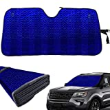 Car Windshield Sun Shade-Extra Thick Sturdy Sunshade Blocks UV Rays Sun Visor Protector , Front Windshield Sun Shade-Fits Most Windshields - 58 x 27.5 Inch ( Holographic Blue )