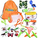 FUN LITTLE TOYS Bug Catcher Kits for Kids with Bug Containers, Butterfly Nets, Magnifying Glass, Binoculars, Insect Traps, Bug Tongs, Telescope, Tweezers, Compass and Backpack, 27 Pieces