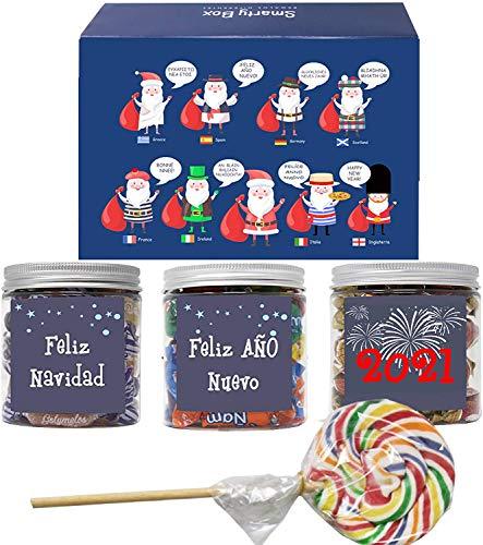 SMARY BOX Caja Regalo Caramelos y Gominolas Navidad, Surtido Chuches, Chucherías sin Gluten Caramelos Toffee, Masticables frutas y Gominolas Naturales, Golosinas Papá Noel