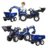 Falk tractopelle New Holland t8 + excavatrice + Dumper Maxi, 3090W, Bleu