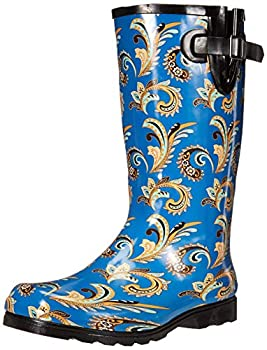 Nomad Women s Puddles Rain Boot Blue Paisley 9 Medium US