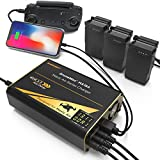 Energen DroneMax MA18A Drone Battery Charger, DJI Mavic Air Accessories, Intelligent Fast Multi Battery Charging Hub Station (Charge 3 Batteries & 2 USB Ports Simultaneously), Black (EN-DM-MA18A)