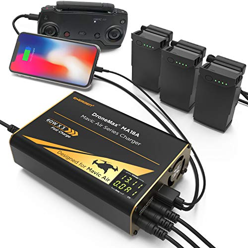 Energen Drone Battery Charger for DJI Inspire 1, Inspire 2, Matrice 200, Matrice 600 Battery TB47 TB48 TB50, Intelligent Fast Multi Battery Charging Hub Station (Charge 3 Batteries & 2 USB Ports)
