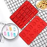 Molde de Silicona para Pasteles 2 piezas, números y letras Molde de silicona, Cada fuente mide...