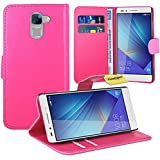 FoneExpert® Huawei Honor 7 Handy Tasche, Wallet Hülle Flip Cover Hüllen Etui Ledertasche Lederhülle Premium Schutzhülle für Huawei Honor 7 (Rosa)