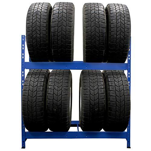 Certeo Schmales Reifenregal | Für bis zu 10 Reifen | HxBxT 1050 x 1100 x 350 mm | Mit Fachboden | Garagenregal Kellerregal Werkstattregal