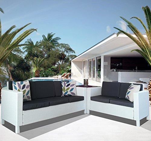 Luxurygarden - Salotto da Giardino in Rattan Sintetico angolare Divano Due posti Divano Tre posti e tavolino Afef