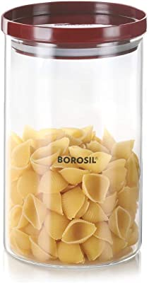 Borosil Stack N Store Glass Jar with Stackable Lid for Kitchen Storage, 900ml