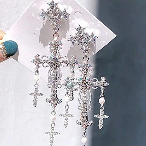 Uymkjv Pendientes, Campeonato Cruzado de Cristal de Color Plata de Lujo de Moda de Adornos de Fiesta Elegantes de la Sra. Elegantes