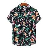 Shirt Playa Hombre Ajuste Regular con Cuello En V Botones Bolsillos Hombre Shirt Moda Verano Estampado Hombre Shirt Ocio Viajes Vacaciones Suelta Manga Corta Hombre Shirt Hawaiana TD02 XXL
