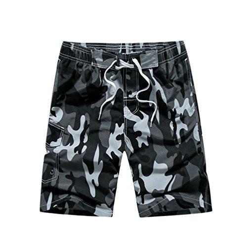 YoungSoul Bañador Camuflaje para Hombre - Trajes de baño Short de Playa surferos - Boardshorts bañadores de natación Gris EU L/Etiqueta XL
