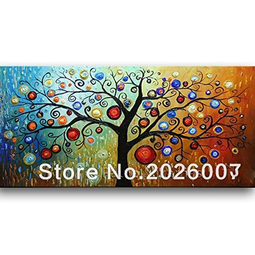 Orlco Art Dipinto a Mano Pittura di Paesaggio Paesaggio Astratto Palette Magic Tree House Wall Soggiorno Arte, Tela, 24x48inch(60x120cm) …