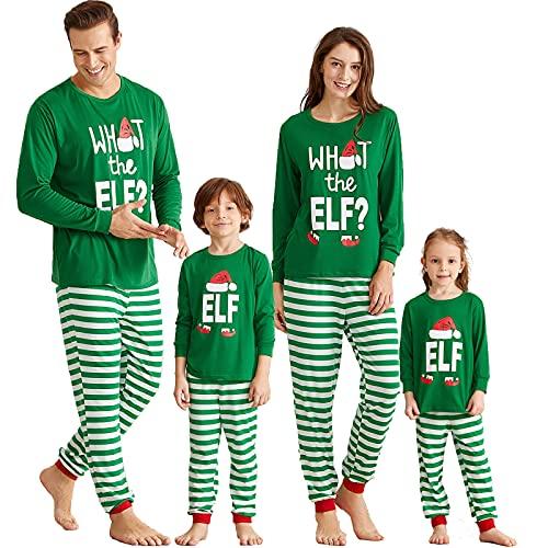 IFFEI Matching Family Christmas Pajamas Sets Holiday PJ's with ELF Printing Long Sleeve Tee and Striped Pants Loungewear Sleepwear Men XL Green