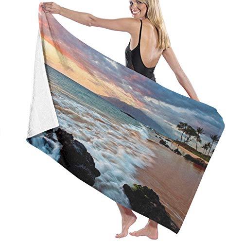Toalla de playa Maui Hawaii Sunset Sea Clouds de microfibra absorbente de agua, toalla de baño duradera toalla de baño toalla de mano ultra suave manta de viaje para mujeres hombres piscina gimnasio
