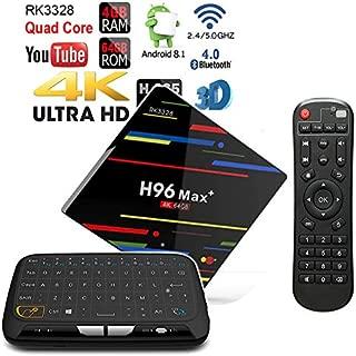 Apes H96 MAX+ Plus Android 8.1 Bluetooth 4.1 64GB/4GB Quad Core 1080p 4K 3D Rockchip RK3328 Dual WiFi 5G TV Box + Touchpad Wireless Keyboard Remote