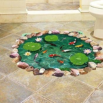BIBITIME 3D Floor Stickers Stone Pool Lotus Flower Carp Fishes Wall Decal for Kitchen Bathroom Tile Sticker Living Room Bedroom Kids Room Decor Art Mural