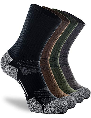 CWVLC Men's Elite Hiking Crew Socks, 4-Pack Full Cushion Boot Socks for Hunting Ski Work Walking Outdoor Athletic, Moisture Wicking Thick Winter Warm Arch Compression, XX-Large, Black Grey Green Brown