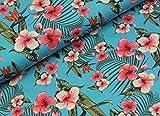Qualitativ hochwertiger Jersey mit Hibiskusblüten auf