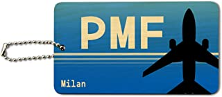 Milan Italy - Parma (PMF) Airport Code Wood ID Tag Luggage Card Suitcase