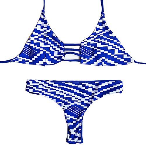 Conjunto de Bikini de triángulo a Rayas Azules Traje de baño de Dos Piezas con Almohadilla extraíble, Traje de baño Colgante de Cuello Traje de baño Vendaje Ropa de Playa-M