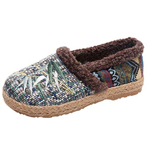 Zapatos De Tela De Gran TamañO-OtoñO Invierno-Zapatos De AlgodóN Mujer-Zapatos Madre Antideslizantes De Fondo Suave-AdemáS De Terciopelo Mantener El Calor Estilo Nacional Bohemio Zapatillas Casuales