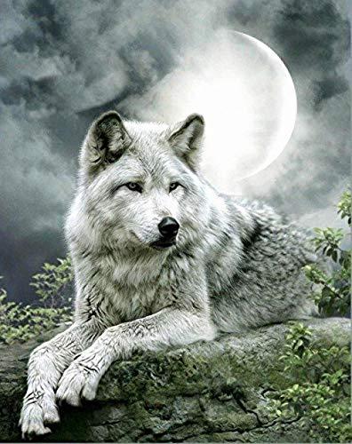 Rompecabezas de 1000 piezas de rompecabezas de madera Puzzle para adultos Rompecabezas de 1000 tigres nada en el lago con el lobo blanco y la luna DIY Rompecabezas de madera Regalo único Estilo de de
