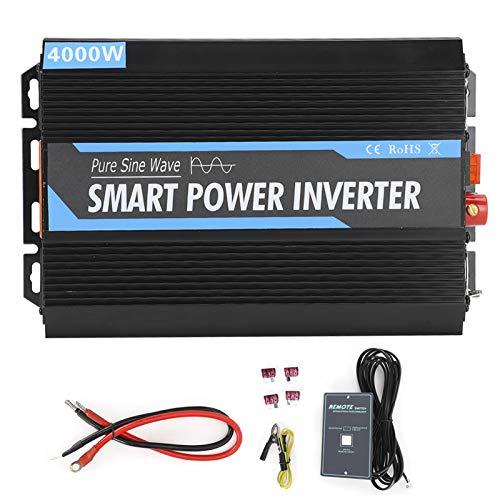 Qiilu Inversor de corriente, inversor de corriente de onda sinusoidal pura de 4000 W, 12 V a 220 V, convertidor de coche portátil, inversor de carga, transformador de voltaje universal para coche