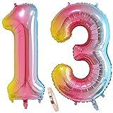 globos numeros 13 años, globo número 13 arcoíris para niña niño infantil, 40 Figuras helio globo inflable gigante,grande iridiscentes colores rosados rosa decoración fiesta de cumpleaños (xxxl 100cm)