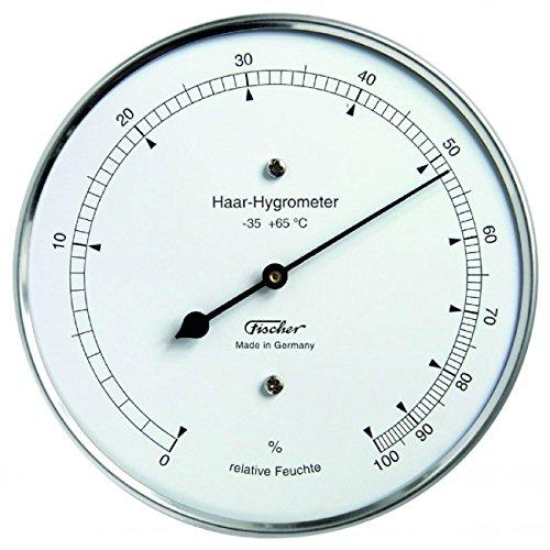 Fischer 111.01 - Igrometro a capello, acciaio inossidabile, Diametro 103 mm, Campo di misura da 0 a 100{8614fd59760c553a1dd9fc5e8392e88aea5284ff1b271f338af68818462174b8} di umidità relativa, precisione ± 3{8614fd59760c553a1dd9fc5e8392e88aea5284ff1b271f338af68818462174b8} RH (20 100{8614fd59760c553a1dd9fc5e8392e88aea5284ff1b271f338af68818462174b8}), scala 1{8614fd59760c553a1dd9fc5e8392e88aea5284ff1b271f338af68818462174b8} RH