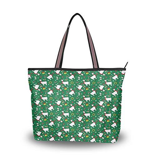 JUMBEAR Bolso de lona para mujer, llamas, calcetines de Navidad, color verde, acuarela, abstracto, para mujer, bolsa de hombro, L, color, talla Medium
