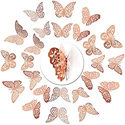 nuoshen Rose Gold 3D Butterfly Wall Stickers