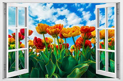 Enorme 3d vinilo adhesivo decorativo para pared, estilo blanco de la ventana de alta calidad Home Décor Art Mural extraíble, 33.5'x 45'