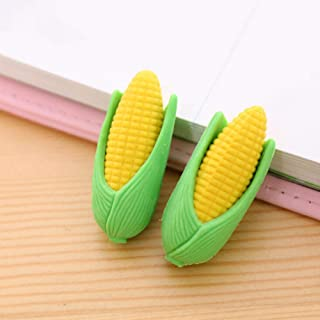 THREE Student stationery lovable life like corn eraser two pieces of super sprout can be split 2 clothes Office supplies,A