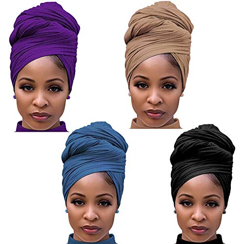 4 Packs Stretch Jersey Turban Head Wrap Scarf Headwraps for Women African Head Wraps Long Hair Scarf Ultra Soft Breathable Solid Color Turban Tie Large Headband (Black, Purple,Brown,Blue)