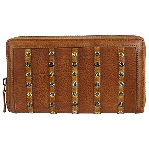 Taschendieb Wien Leder Reißverschluss Geldbörse Portemonnaie Brieftasche Portmonee TD0688, Farbe:Cognac