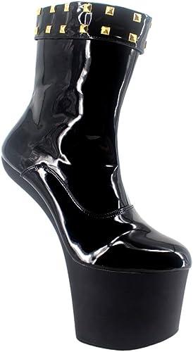 Wonderheel 8  heelless heelless sexy fétiche plateforme ankle bottes cuir noir verni bottes femme  qualité de première classe