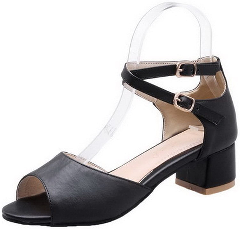 WeiPoot Women's PU Low-Heels Peep Toe Solid Buckle Sandals