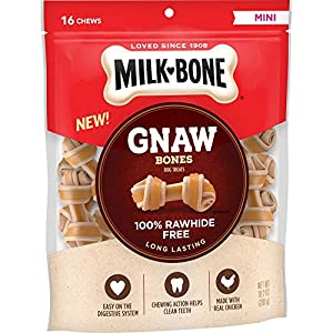 Milk-Bone Gnaw Bones Rawhide Free Chew Treats for Dogs, Chicken, 16 Mini Knotted Bones