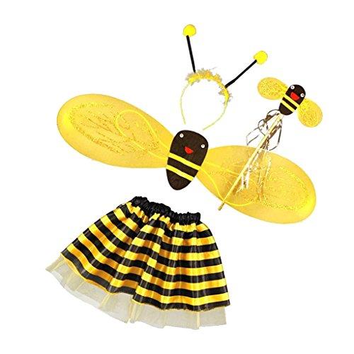Ensemble 4pcs Costume Ailes d'Abeille Filles Enfants Serre-tête Jupe Tutu Baguette Magique pour Cosplay Halloween