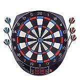 LIPETLI Diana Electronicas Dardos Profesional,Juegos de Diana,27 Juegos y 243 Variantes de Juego,Pantalla LCD Scoring Indicator Target Board con 6 Dardos