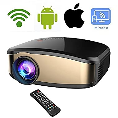 DIWUER Wireless WiFi Video Projector Full HD 1080P Projector Portable Mini Projectors Support Airplay Mira-cast Wireless Display for Home Theater Game Movie
