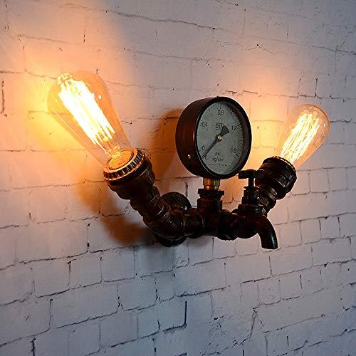 Rishx Tubería de agua industrial vintage Restaurante Decoración Aplique Vintage Edison E27 2 luces Lámpara de pared Lámparas Steampunk Loft Dormitorio Lámpara de noche