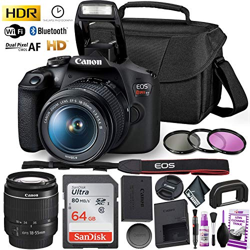 Canon Rebel T7 DSLR Camera with 18-55mm Lens Kit and Sandisk 64GB Ultra Speed Memory Card, Creative Lens Filters, Carrying Case | Limited Edition Bundle