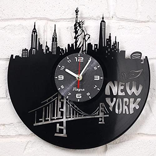 SFDGBTH Nueva York Vinyl Clock Wall Art Decor para la Sala Estatua de Liberty Arte Moderno Regalo para Hombres Mujeres Cumpleaños Record Reloj Ciudad de Nueva York -12 Pulgadas