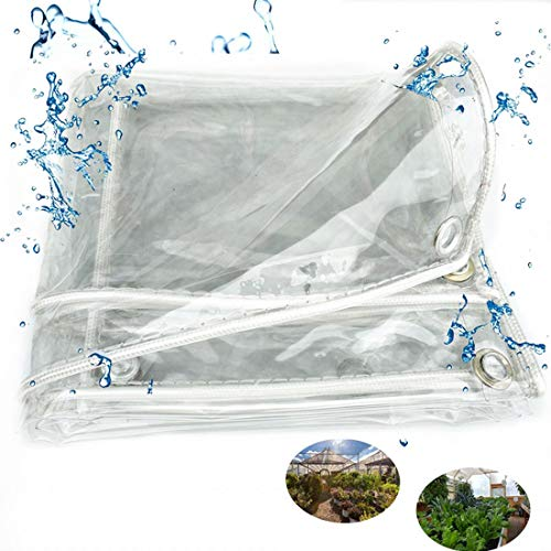 Transparent PVC Waterproof Tarpaulin Cloth,0.3mm Clear Dustproof Rainproof Tarpaulin Outdoor Gazebo Protective Ground Sheet Cover,Tarp for Greenhouse Weed Barrier,with Eyelets(2x3m/6.6x9.8ft)