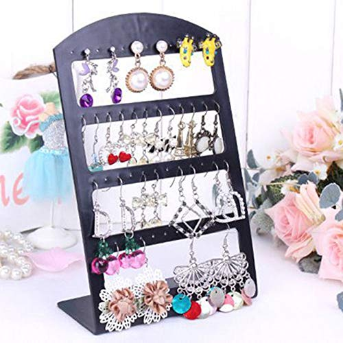 Battle of the peak Schmuckständer 48 Löcher Schmuck Organizer Ständer Schwarz Kunststoff Ohrring Halter Pesentoir Mode Ohrringe Display Rack Etagere (Color : Black)