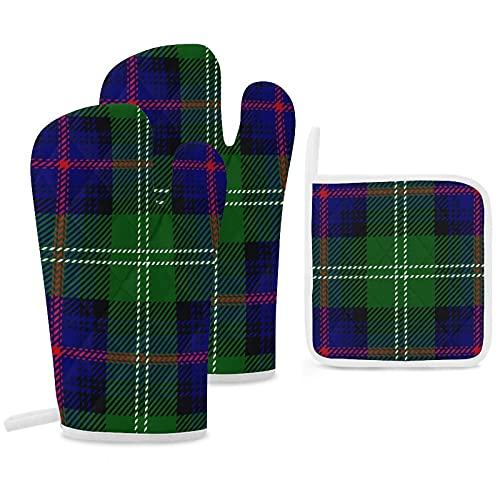 Clan Sutherland Lot de 3 maniques de cuisine antidérapantes réutilisables pour la cuisson au barbecue